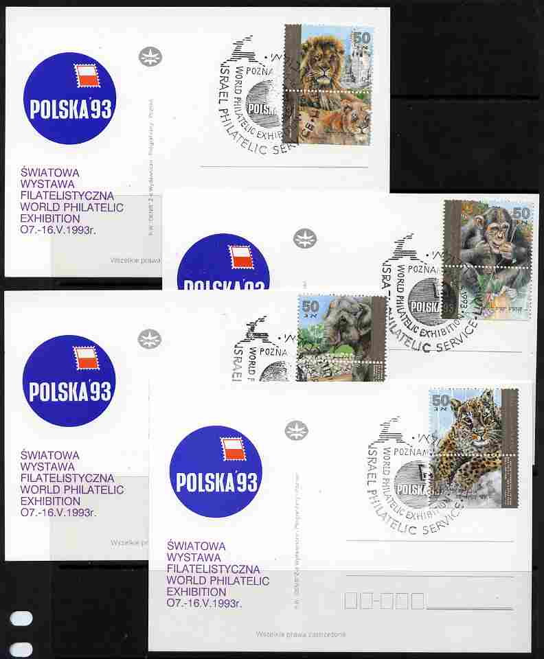 Postmark - Israel 1992 Zoo Animals set of 4 with tabs each on separate card for Polska '93 with special Exhibition cancellation, only a few sets were so produced, as SG 1177-80