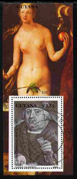 Guyana 1990 Eve and Tassis by Durer (500th Anniversary) perf m/sheet fine cto used