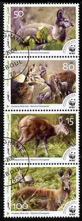 Afghanistan 2004 WWF - Himalayan Musk Deer perf set of 4 in se-tenant strip fine cto used