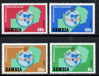 Zambia 1980 75th Anniversary of Rotary International set of 4 unmounted mint, SG 306-09