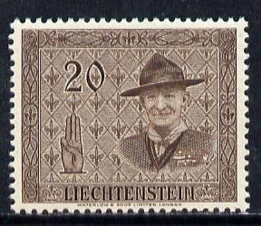 Liechtenstein 1953 14th Scout Conference 20r brown (Baden Powell) SG 314*