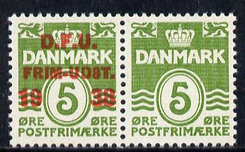 Denmark 1938 10th Danish Philatelic Exhibition, se-tenant pair, one without overprint unmounted mint, Scott #263