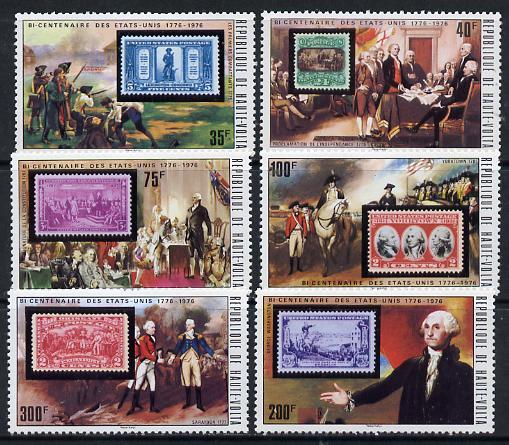 Upper Volta 1975 US Bicentenary set of 6 (Stamp on Stamp) unmounted mint