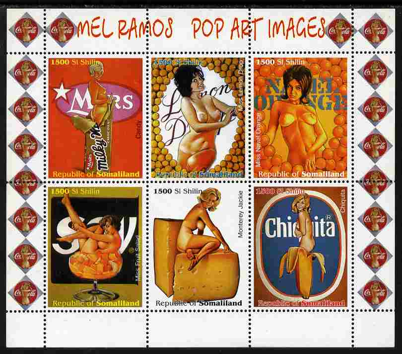 Somaliland 1999 Mel Ramos - Pop Art Images #1 perf sheetlet containing 6 values unmounted mint