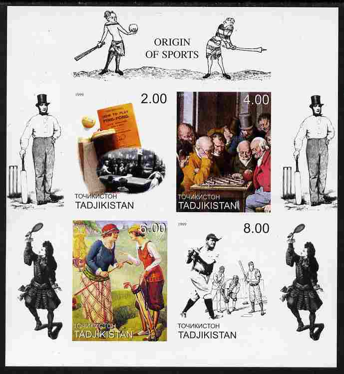 Tadjikistan 1999 Origin Of Sports imperf sheetlet containing set of 4 (Chess, Table Tennis, Golf & Baseball with Cricket in margins) unmounted mint, stamps on sport, stamps on golf, stamps on cricket, stamps on chess, stamps on table tennis, stamps on baseball