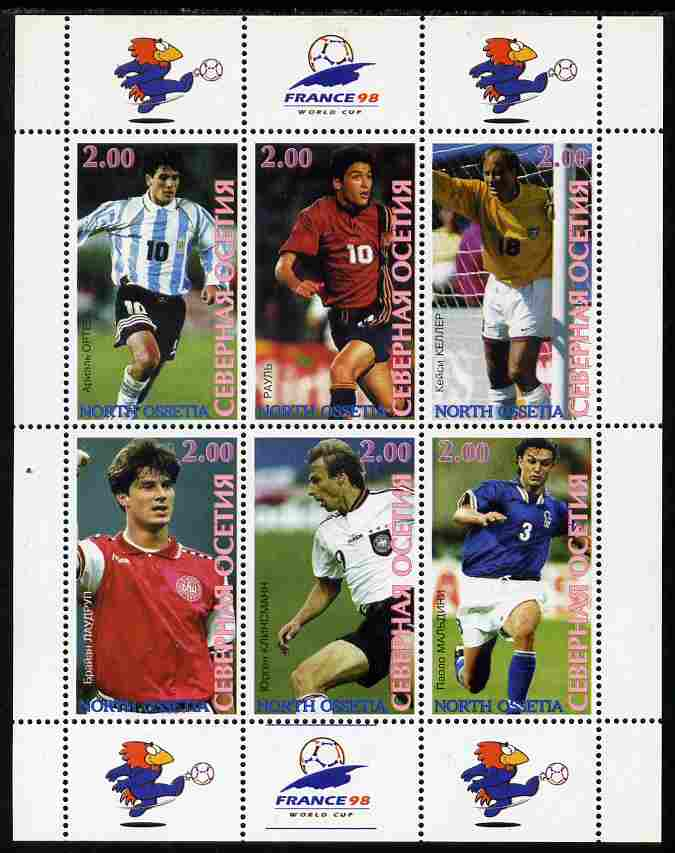 North Ossetia Republic 1998 Football World Cup perf sheetlet containing 6 values with France 98 imprint in margins unmounted mint