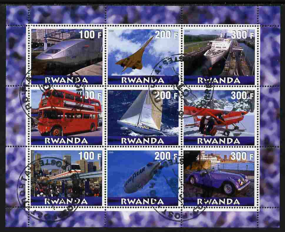 Rwanda 2000 Various Transports perf sheetlet containing 9 values (Concorde, Buses, etc) fine cto used