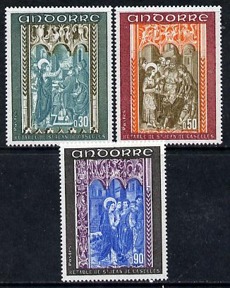 Andorra - French 1971 Altar Screens (3rd series) set of 3 SG F 233-35