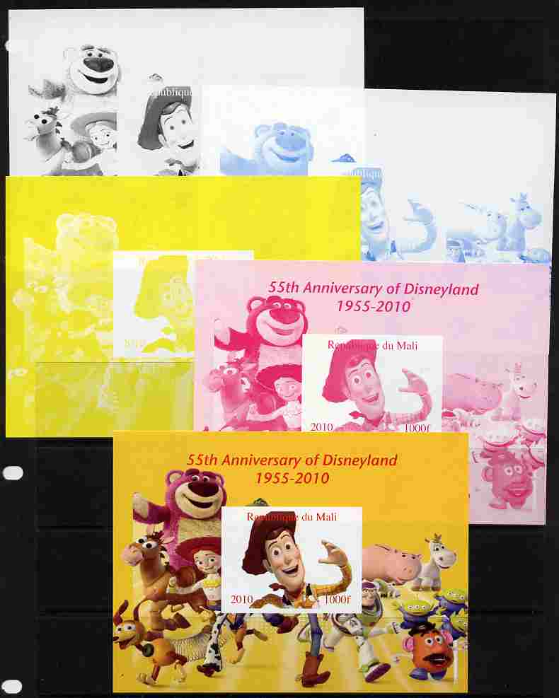 Mali 2010 55th Anniversary of Disneyland - Toy Story #2 s/sheet - the set of 5 imperf progressive proofs comprising the 4 individual colours plus all 4-colour composite, unmounted mint