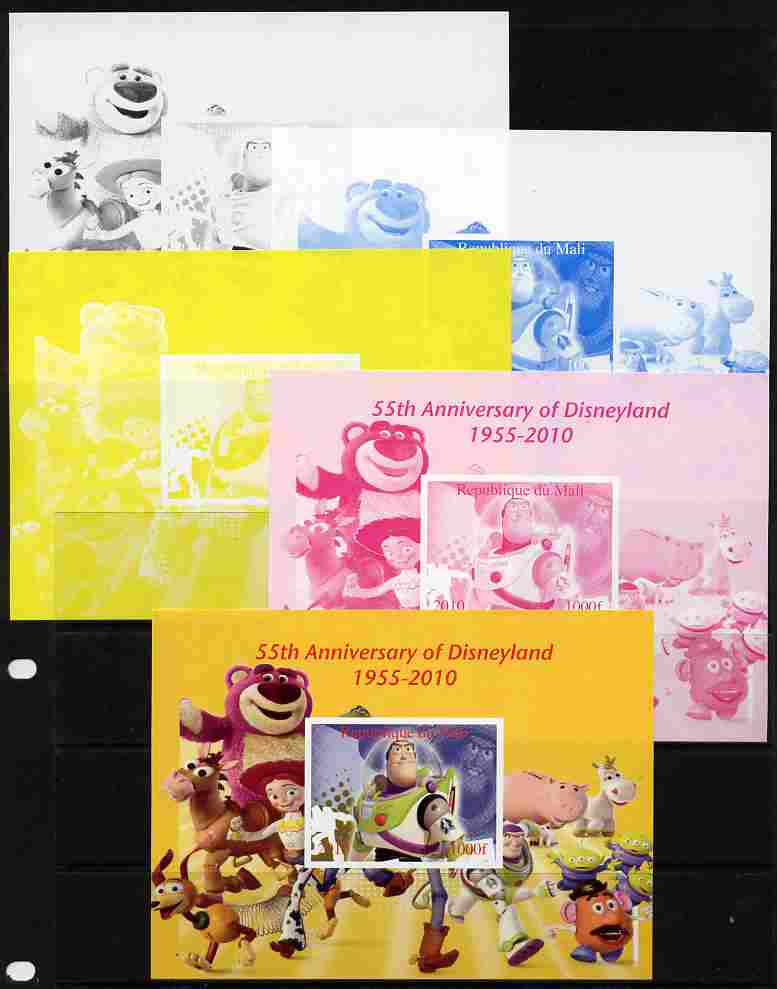 Mali 2010 55th Anniversary of Disneyland - Toy Story #4 s/sheet - the set of 5 imperf progressive proofs comprising the 4 individual colours plus all 4-colour composite, unmounted mint