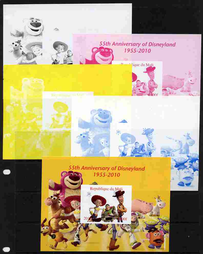 Mali 2010 55th Anniversary of Disneyland - Toy Story #5 s/sheet - the set of 5 imperf progressive proofs comprising the 4 individual colours plus all 4-colour composite, unmounted mint