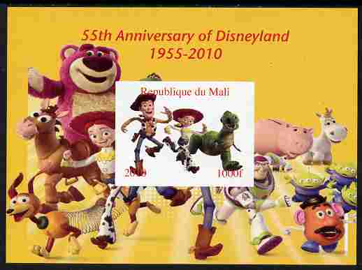 Mali 2010 55th Anniversary of Disneyland - Toy Story #6 imperf s/sheet unmounted mint. Note this item is privately produced and is offered purely on its thematic appeal