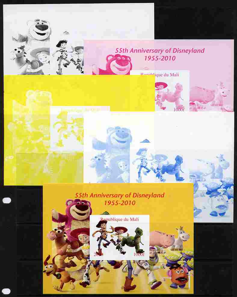 Mali 2010 55th Anniversary of Disneyland - Toy Story #6 s/sheet - the set of 5 imperf progressive proofs comprising the 4 individual colours plus all 4-colour composite, unmounted mint