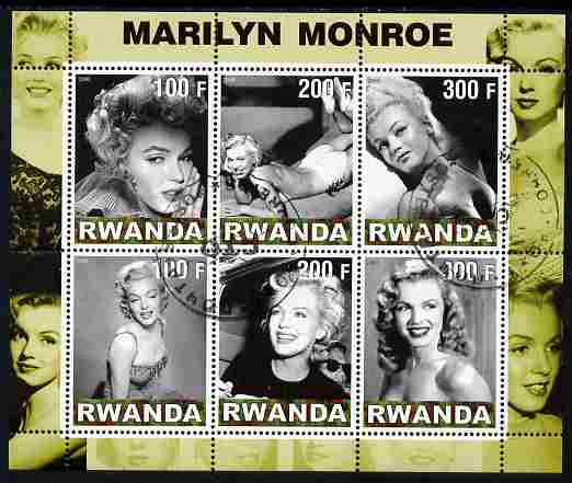Rwanda 2000 Marilyn Monroe perf sheetlet containing 6 values fine cto used
