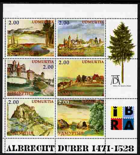 Udmurtia Republic 1999 Albrecht Durer perf sheetlet containing set of 6 values (Landscapes) complete with IBRA imprint, unmounted mint
