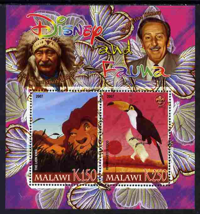 Malawi 2007 Disney & Fauna #01 perf sheetlet containing 2 values unmounted mint. Note this item is privately produced and is offered purely on its thematic appeal, it has no postal validity