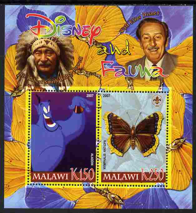 Malawi 2007 Disney & Fauna #03 perf sheetlet containing 2 values unmounted mint. Note this item is privately produced and is offered purely on its thematic appeal, it has no postal validity