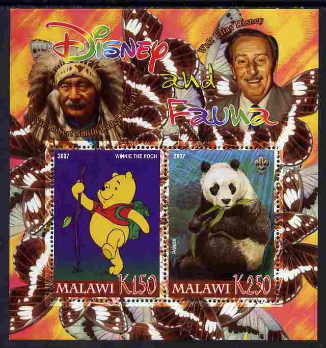 Malawi 2007 Disney & Fauna #06 perf sheetlet containing 2 values unmounted mint. Note this item is privately produced and is offered purely on its thematic appeal, it has no postal validity