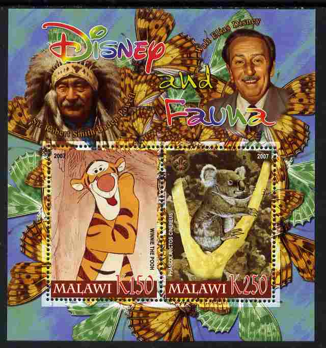 Malawi 2007 Disney & Fauna #07 perf sheetlet containing 2 values unmounted mint. Note this item is privately produced and is offered purely on its thematic appeal, it has no postal validity