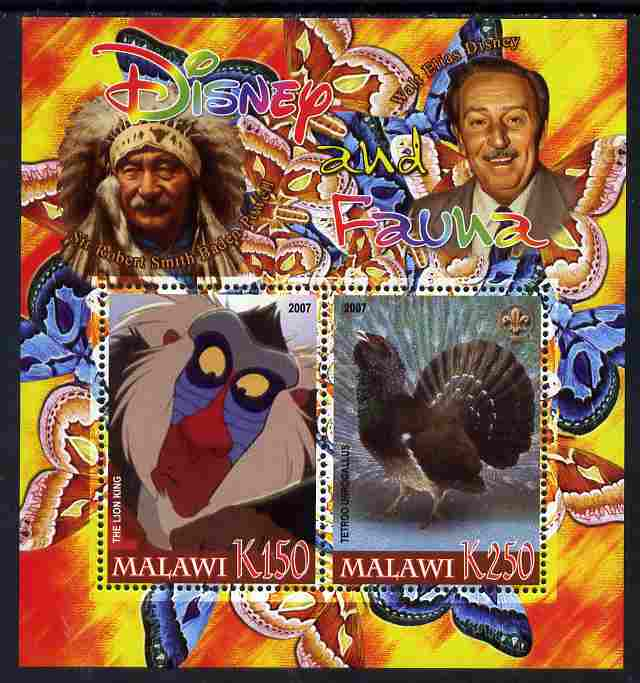 Malawi 2007 Disney & Fauna #08 perf sheetlet containing 2 values unmounted mint. Note this item is privately produced and is offered purely on its thematic appeal, it has no postal validity