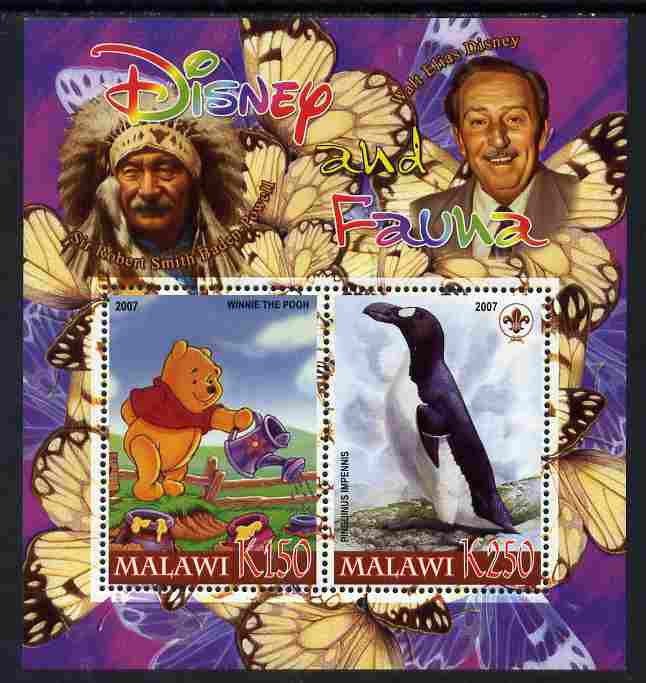 Malawi 2007 Disney & Fauna #12 perf sheetlet containing 2 values unmounted mint. Note this item is privately produced and is offered purely on its thematic appeal, it has no postal validity