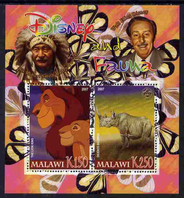 Malawi 2007 Disney & Fauna #13 perf sheetlet containing 2 values unmounted mint. Note this item is privately produced and is offered purely on its thematic appeal, it has no postal validity