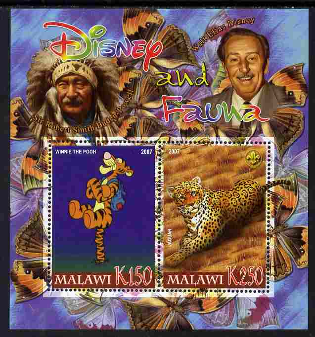 Malawi 2007 Disney & Fauna #14 perf sheetlet containing 2 values unmounted mint. Note this item is privately produced and is offered purely on its thematic appeal, it has no postal validity