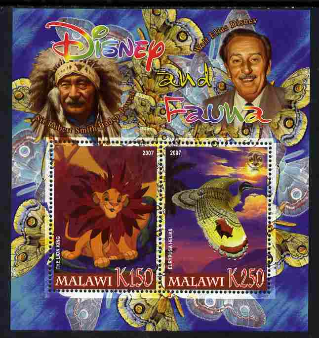 Malawi 2007 Disney & Fauna #15 perf sheetlet containing 2 values unmounted mint. Note this item is privately produced and is offered purely on its thematic appeal, it has no postal validity