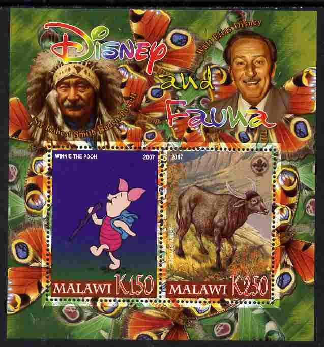 Malawi 2007 Disney & Fauna #16 perf sheetlet containing 2 values unmounted mint. Note this item is privately produced and is offered purely on its thematic appeal, it has no postal validity
