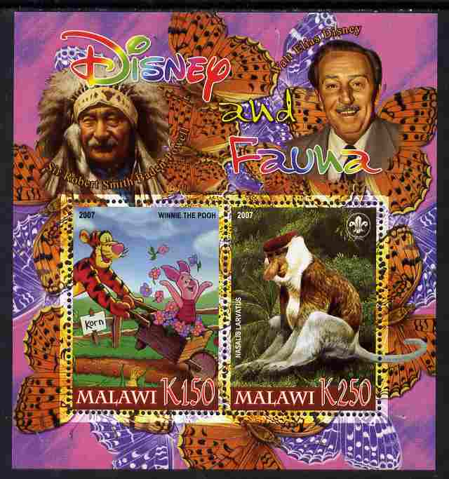 Malawi 2007 Disney & Fauna #19 perf sheetlet containing 2 values unmounted mint. Note this item is privately produced and is offered purely on its thematic appeal, it has no postal validity