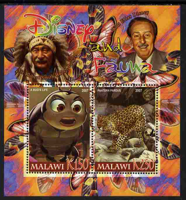 Malawi 2007 Disney & Fauna #22 perf sheetlet containing 2 values unmounted mint. Note this item is privately produced and is offered purely on its thematic appeal, it has no postal validity