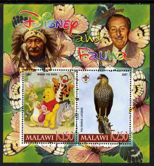 Malawi 2007 Disney & Fauna #23 perf sheetlet containing 2 values unmounted mint. Note this item is privately produced and is offered purely on its thematic appeal, it has no postal validity, stamps on disney, stamps on scouts, stamps on indians, stamps on animals, stamps on films, stamps on cinema, stamps on movies, stamps on cartoons, stamps on butterflies, stamps on bears, stamps on pooh, stamps on birds of prey