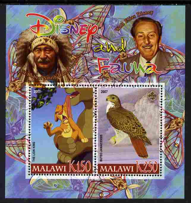 Malawi 2007 Disney & Fauna #24 perf sheetlet containing 2 values unmounted mint. Note this item is privately produced and is offered purely on its thematic appeal, it has no postal validity