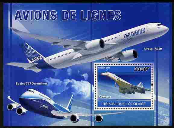Togo 2010 Airliners perf m/sheet unmounted mint