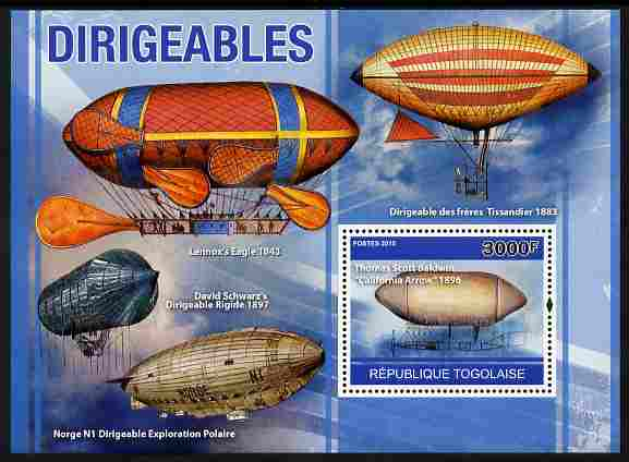 Togo 2010 Dirigibles perf m/sheet unmounted mint