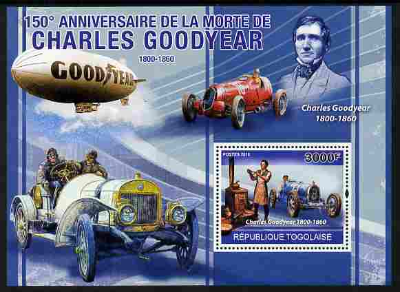 Togo 2010 150th Death Anniversary of Charles Goodyear perf m/sheet unmounted mint