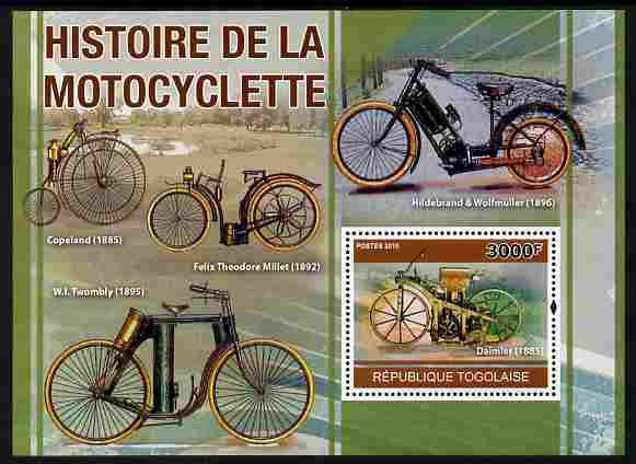 Togo 2010 History of the Motorcycle perf m/sheet unmounted mint