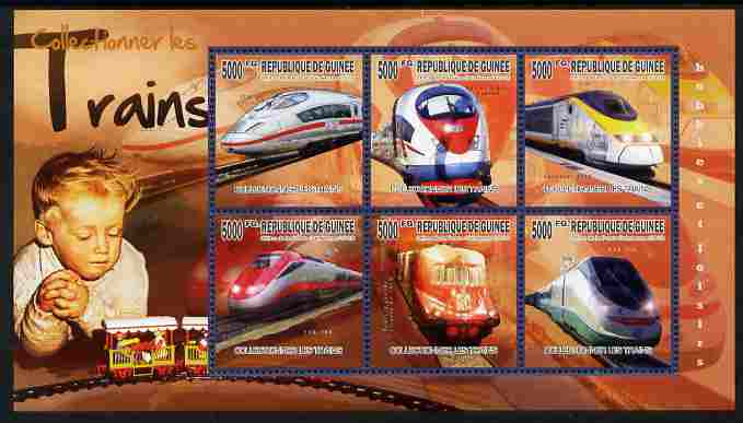 Guinea - Conakry 2010 The Passion for Trains perf sheetlet containing 6 values unmounted mint