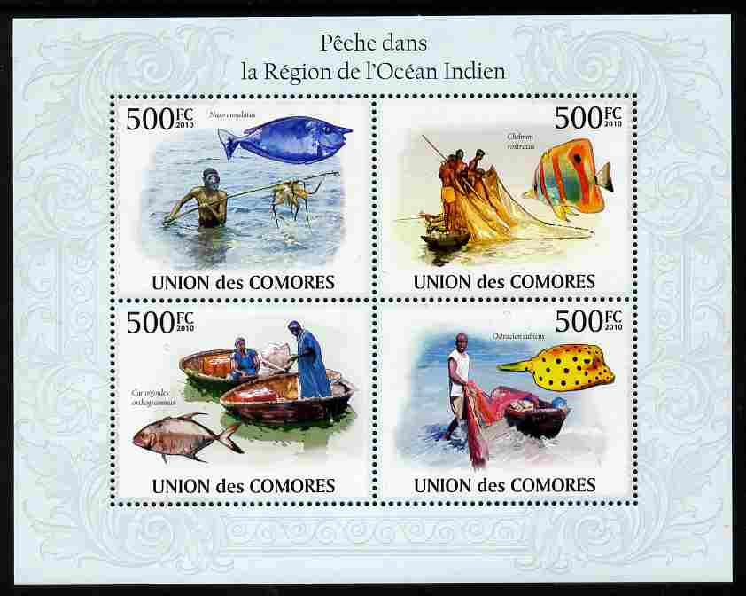 Comoro Islands 2009 Fishing in Indian Ocean perf sheetlet containing 4 values unmounted mint, Michel 2686-89