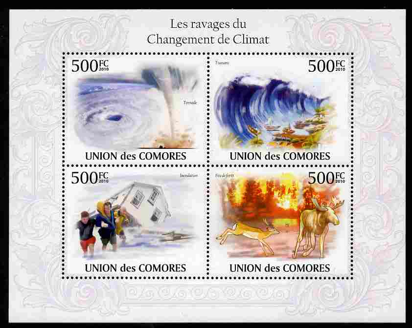 Comoro Islands 2009 Climate Change perf sheetlet containing 4 values unmounted mint, Michel 2741-44