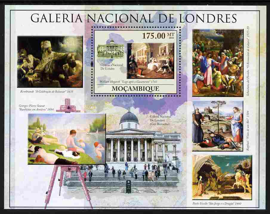 Mozambique 2010 National Gallery of London perf m/sheet unmounted mint, Yvert 299