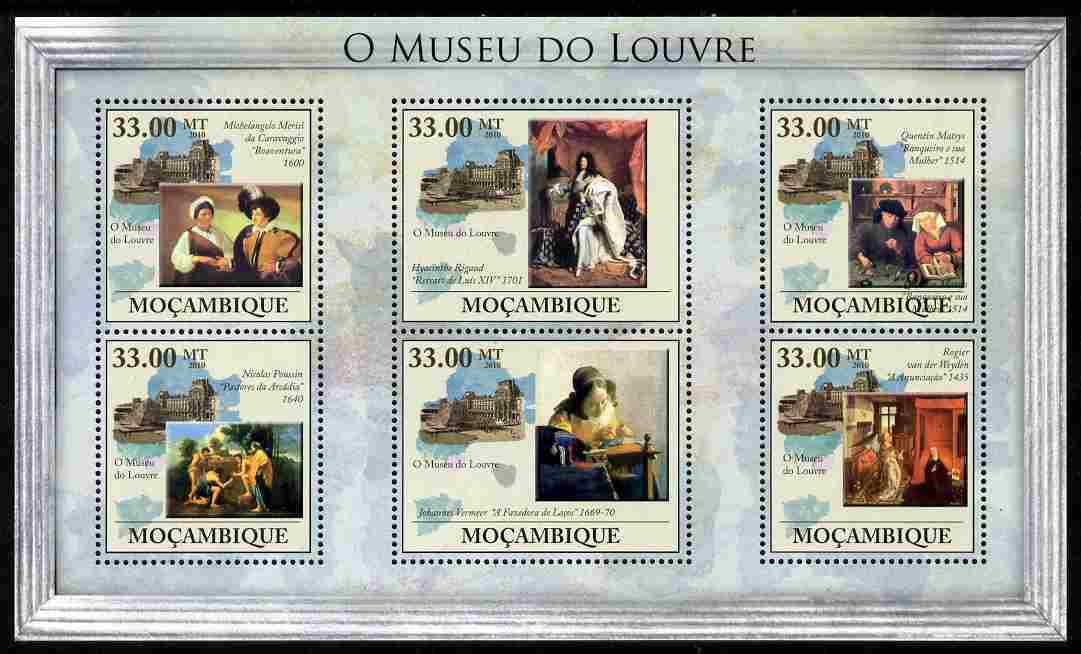 Mozambique 2010 The Louvre, Paris perf sheetlet containing 6 values unmounted mint, Yvert 3254-59