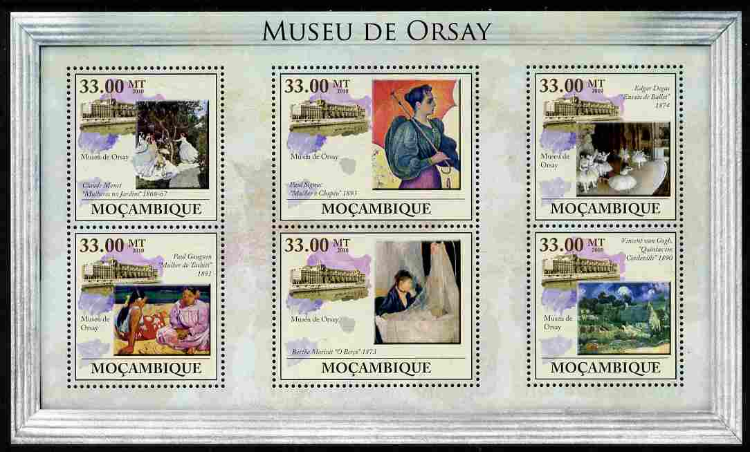 Mozambique 2010 The Orsay Museum, Paris perf sheetlet containing 6 values unmounted mint, Yvert 3260-65