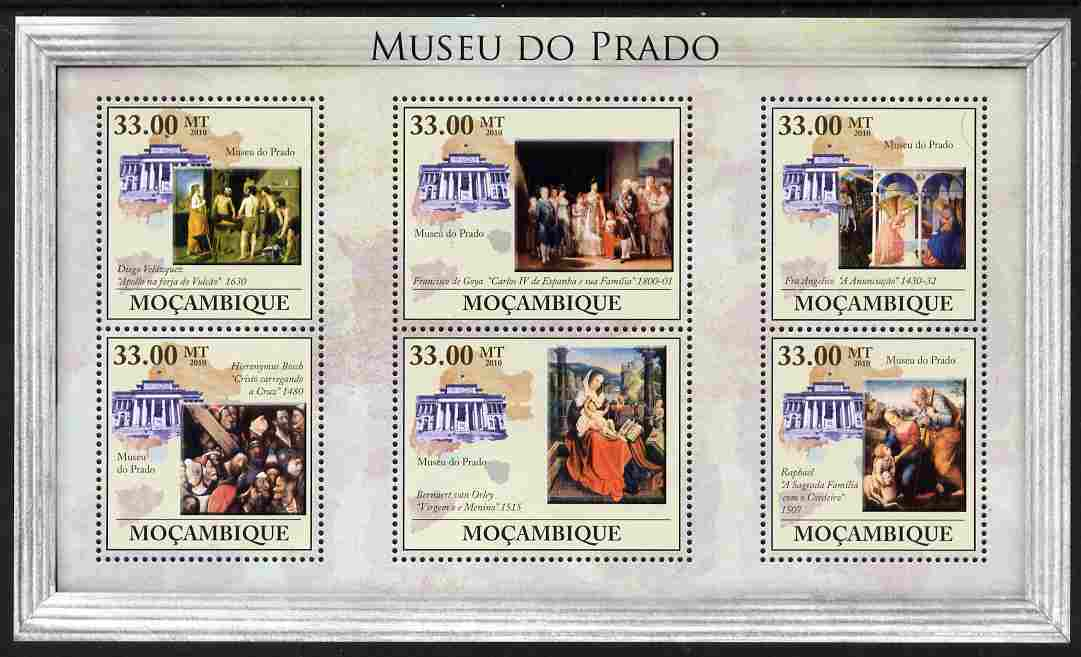 Mozambique 2010 The Prado Museum, Spain perf sheetlet containing 6 values unmounted mint, Yvert 3272-77