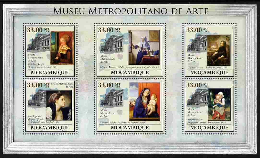 Mozambique 2010 The Metropolitan Museum of Art, New York perf sheetlet containing 6 values unmounted mint, Yvert 3278-83