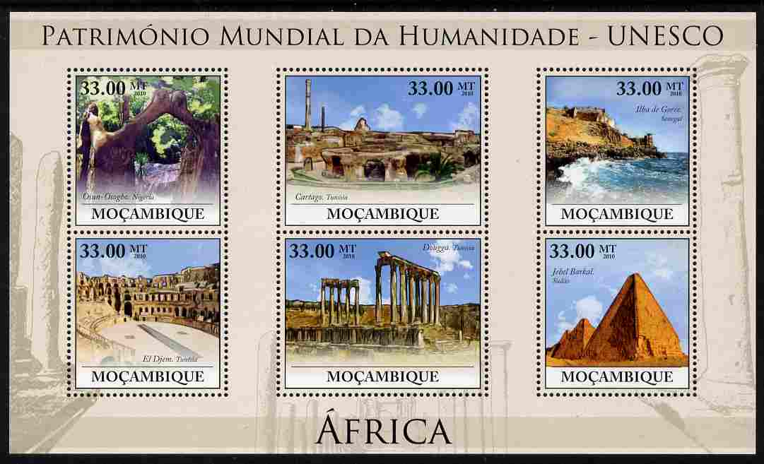 Mozambique 2010 UNESCO World Heritage Sites - Africa #2 perf sheetlet containing 6 values unmounted mint, Yvert 3206-11