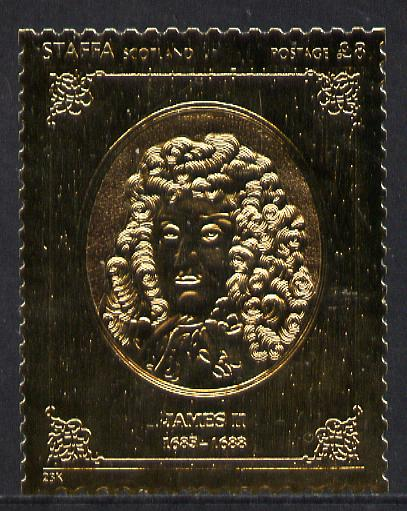 Staffa 1977 Monarchs \A38 James II embossed in 23k gold foil with 12 carat white gold overlay (Rosen #494) unmounted mint