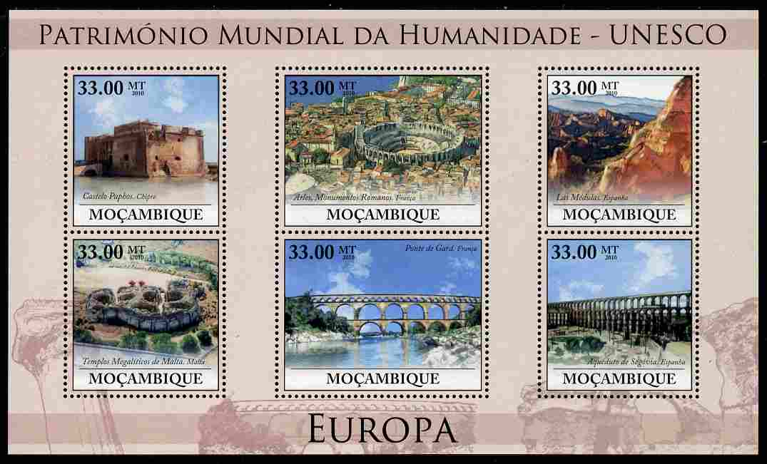 Mozambique 2010 UNESCO World Heritage Sites - Europe #2 perf sheetlet containing 6 values unmounted mint, Yvert 3182-87