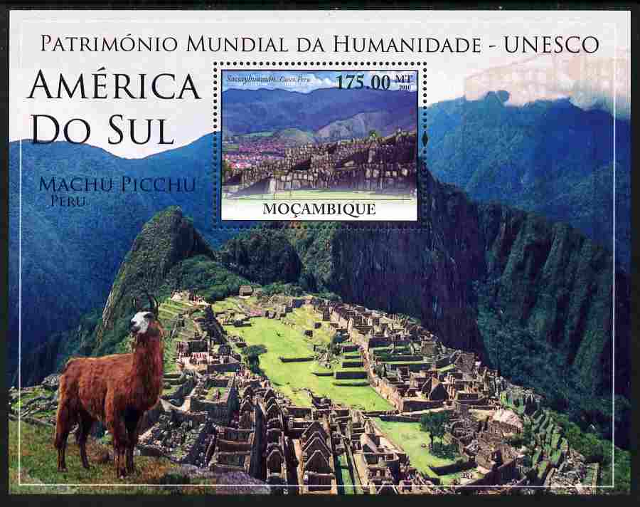 Mozambique 2010 UNESCO World Heritage Sites - South America #1 perf m/sheet unmounted mint, Yvert 298