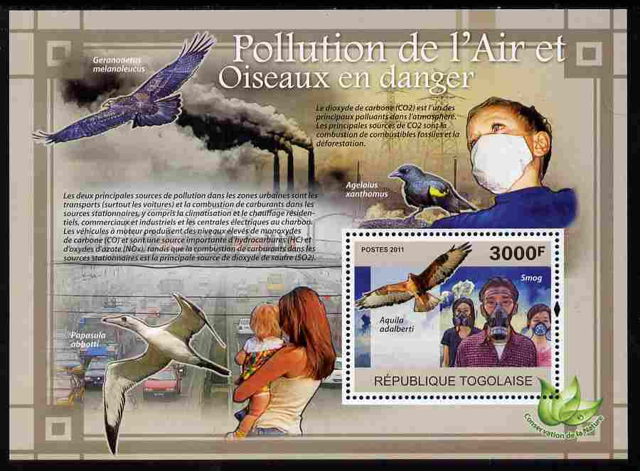 Togo 2011 Air Pollution & Endangered Birds perf s/sheet unmounted mint